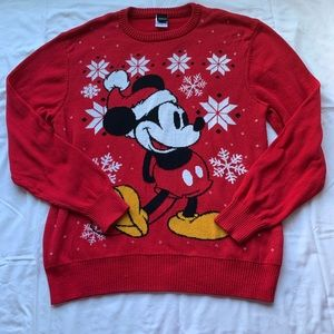 Disney Mickey Mouse Red Christmas Sweater XL